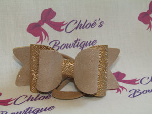 Beige Glitter Faux Suede & Rose Gold Spun Sugar Elasticated Headband