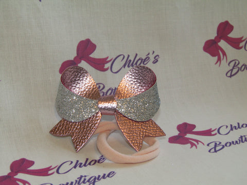 Pink Leatherette and Silver Glitter Elasticated Headband