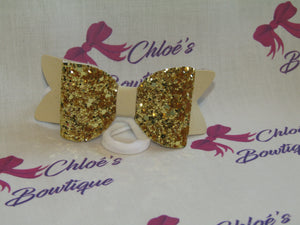 Gold Glitter & Natural Faux Suede Elasticated Headband