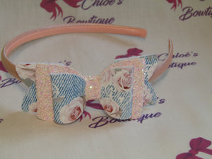 Faux Denim & Pink Glitter Alice Headband