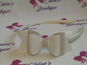 Pearlised White Leatherette & White Glitter Faux Suede Alice Headband