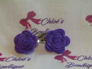 Purple Flower Snap Clip