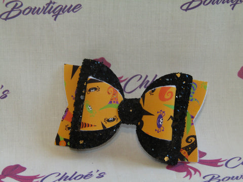 Orange Witches & Black Glitter Hat Clip