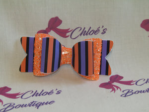 Orange Glitter & Multi-Stripe Clip