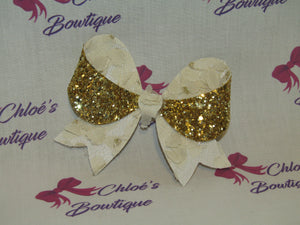 Gold Glitter & Cream Lace Clip