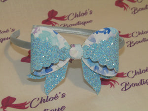 Blue Glitter & White Floral Alice Headband