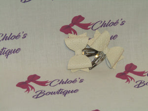 Cream Leatherette Snap Clips