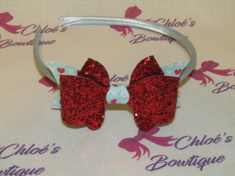 Red Glitter & Blue Hugs & Kisses Alice Headband