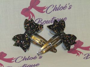 Black Multi Glitter Snap Clip