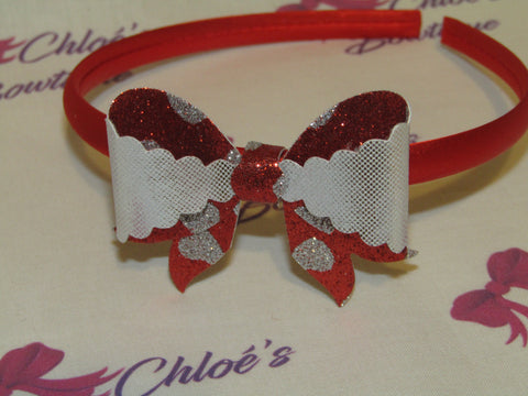 Silver & Red & Silver Heart Alice Headband
