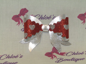 Silver & Red Heart & Silver Clip
