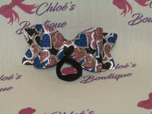 Black, Blue & Pink Glitter Heart Elasticated Headband