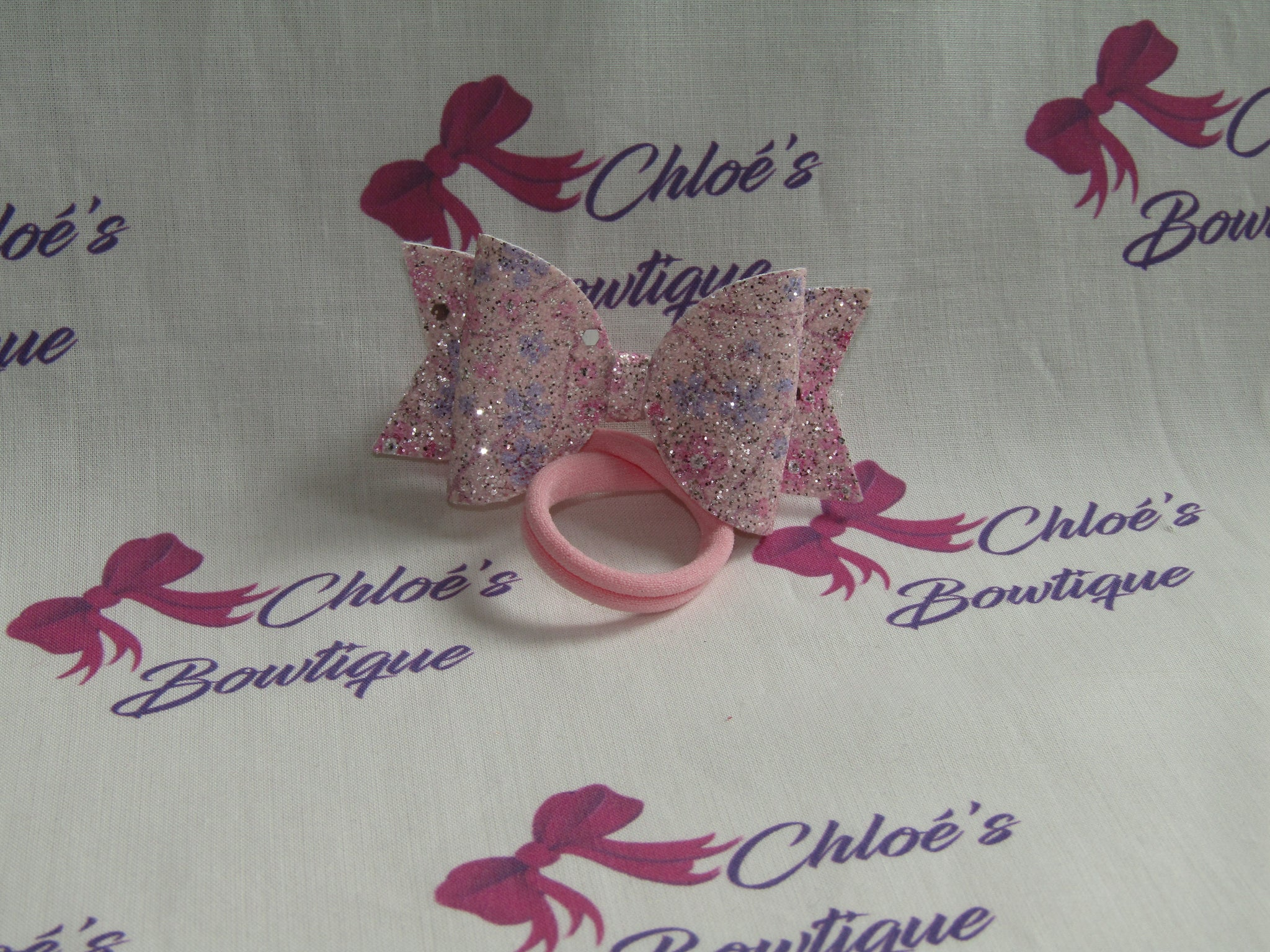 Pink Glitter Floral Print Elasticated Headband