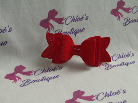 Red Leatherette & Red Gloss Shimmer Clip