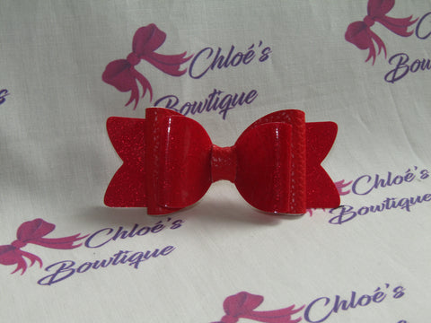 Red Gloss Shimmer & Red Leatherette Clip