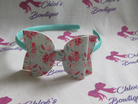Mint Flower Print Alice Headband