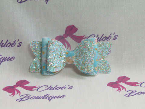Blue Multi Glitter & Fairy With Baby Bunny Print Clip
