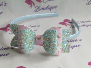 Blue Multi Glitter & Pink Baby Bunny Fabric Alice Headband