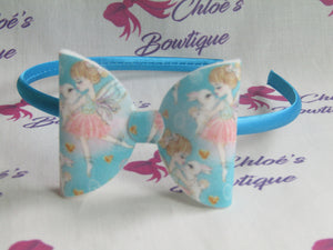 Blue Fairy & Baby Bunny Print Alice Headband