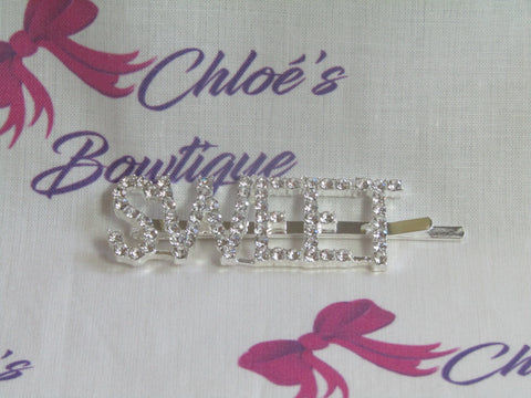 Silver Diamante Slogan Hair Slides