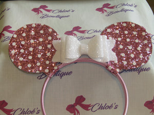 White Glitter & Pink Polka Dot Glitter Ears Alice Headband