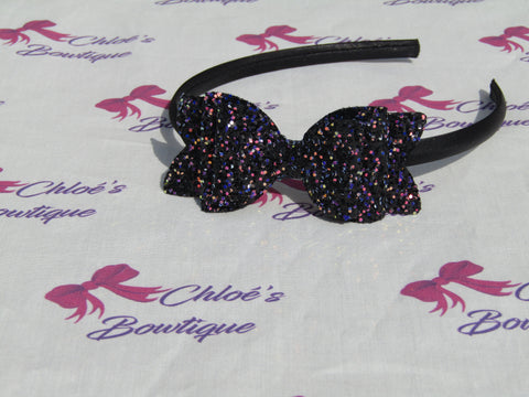 Black Multi Glitter Alice Headband