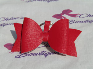 Red Leatherette Bow Keyring
