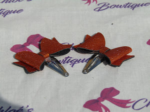 Orange Shimmer Bow Snap Clip