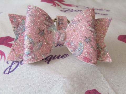 Pink Glitter Fairy Print Bow Keyring