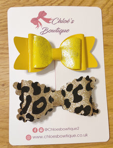 Yellow Gloss & Gold Leopard Glitter Clip Set