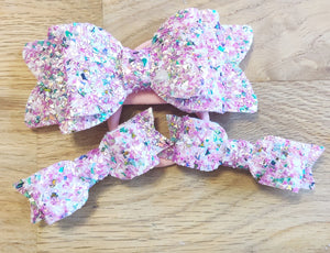 Pink Multi Tinsel Glitter Elasticated Headband & Mini Bows