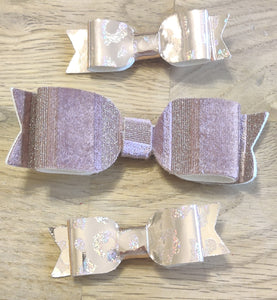 Damson Shimmer & Rose Gold Leopard Mini Bows