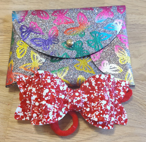 Grey Butterfly Coin Purse & Red Glitter Elasticated Headband