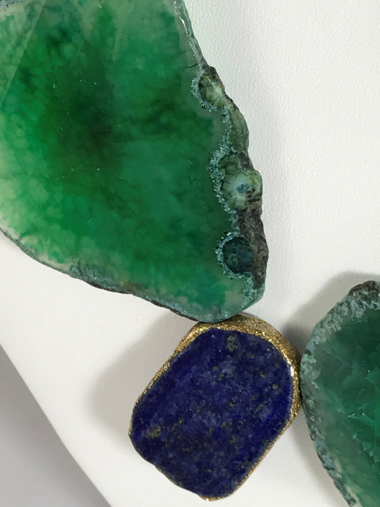 Agate and Lapis Statement Necklace