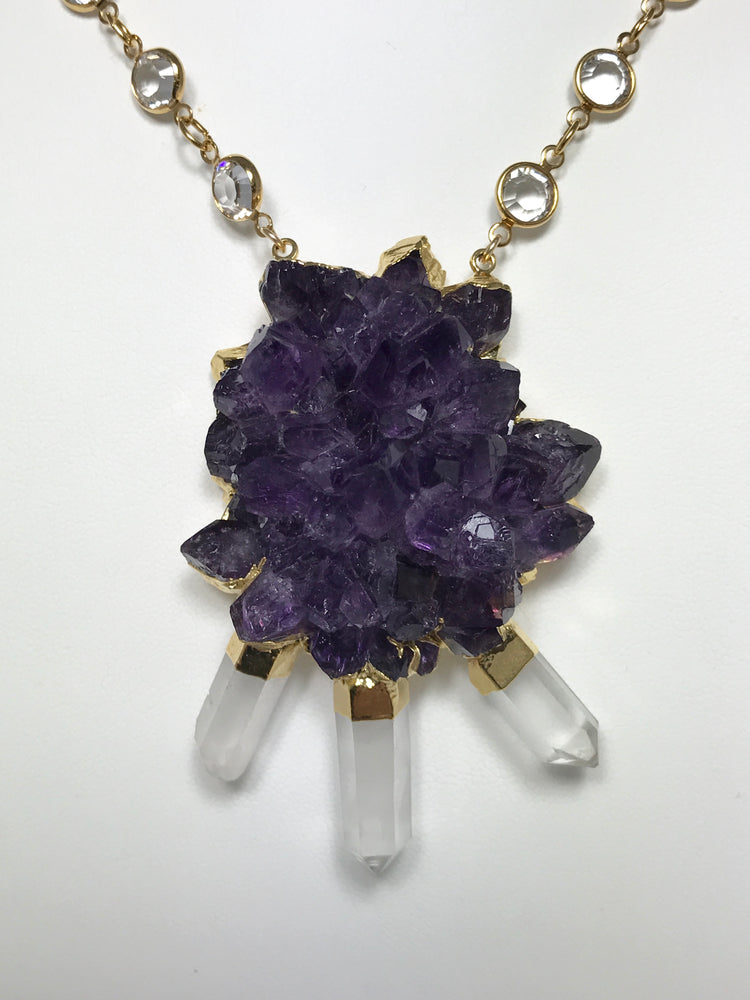 Amethyst with Crystal Gold Points Swardovski Chain