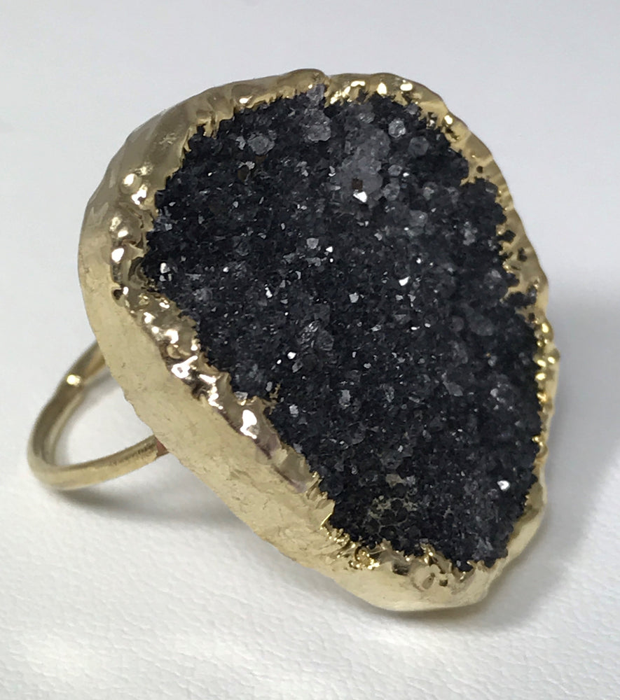 Black Druzy Quartz Ring