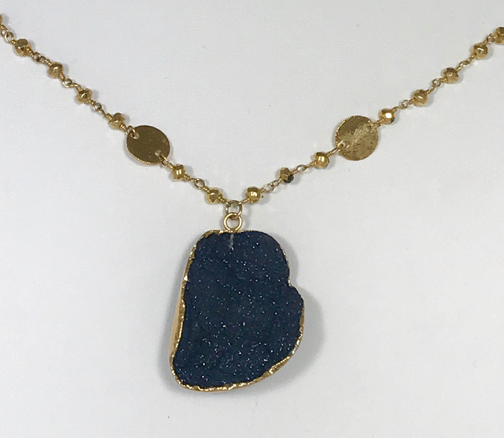 Blue Druzy Stone Necklace on a Pyrite Gold Chain