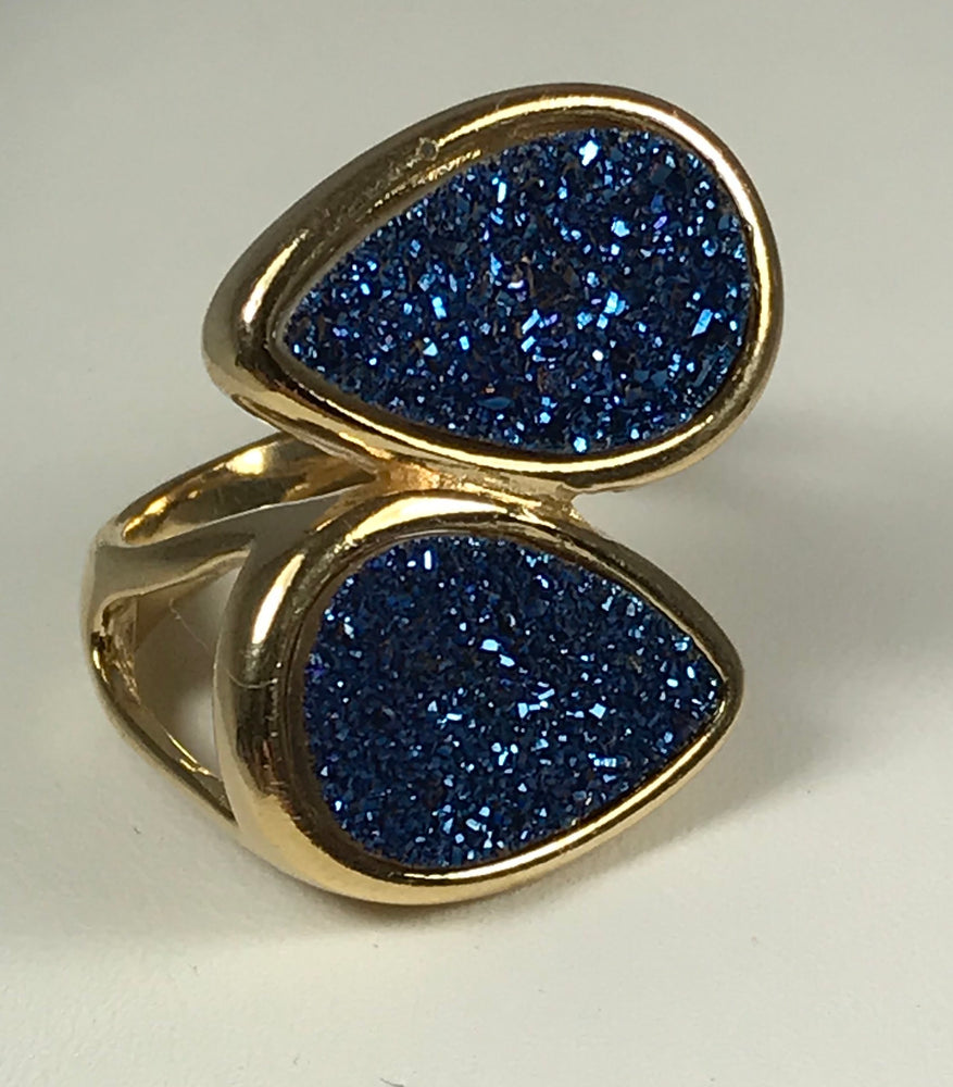 Double Blue Druzy Ring