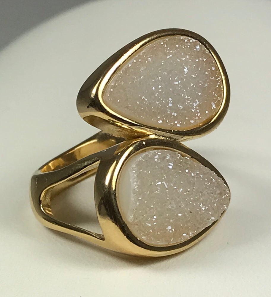Double White Druzy Ring