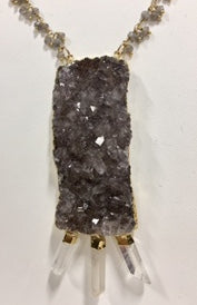 Light Brown Druzy with 24K Gold Quartz Points and Smoky Quartz Chain.