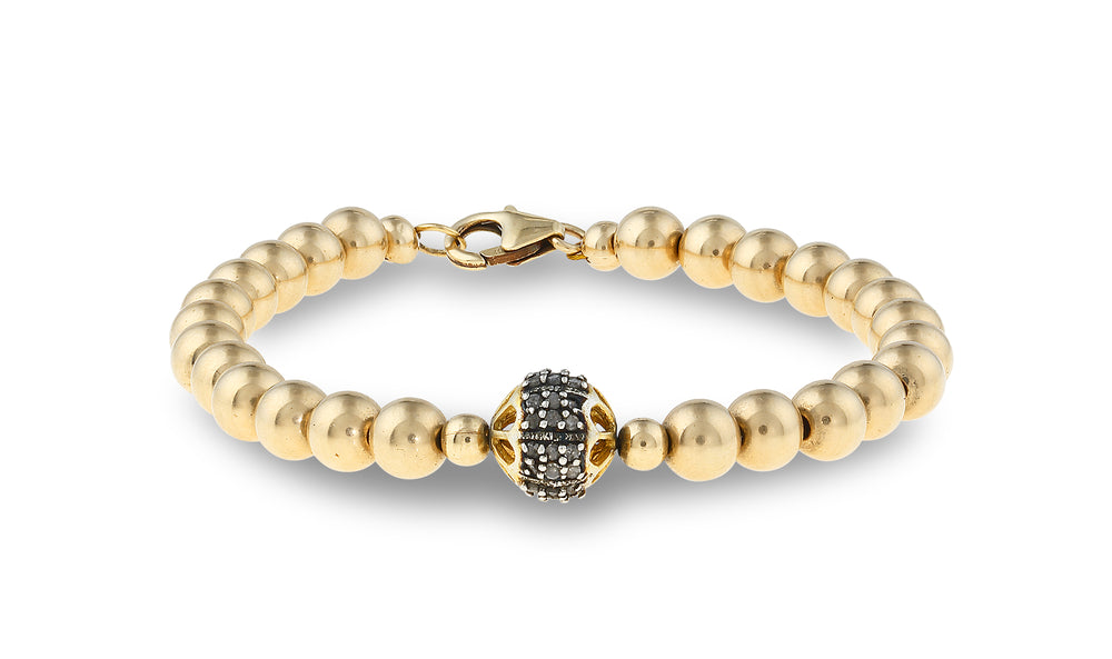 Ivy Round Diamond with Gold Overlay on Either Side Gold Bracelet