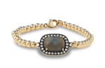 Aurora Sapphire and White Topaz Accent Bracelet with Gold Beads and Clasp