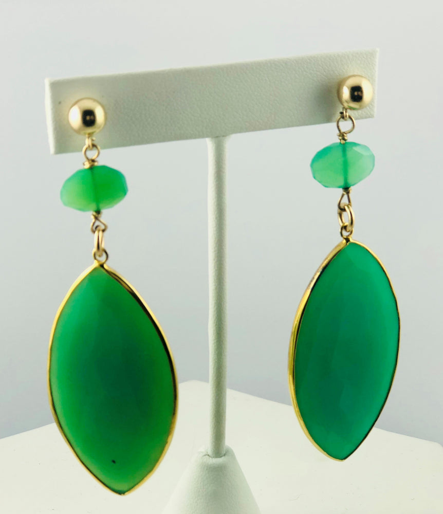 Azalea Green Chalcedony and Quartz Drop Earrings