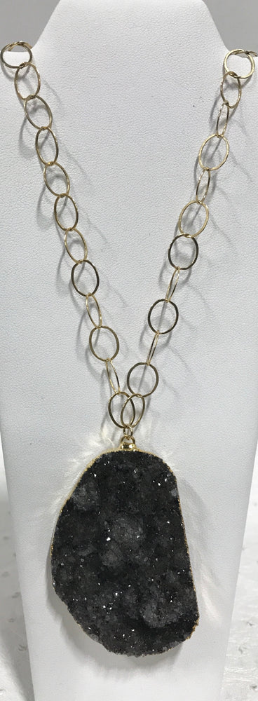 Large Black Druzy Pendant
