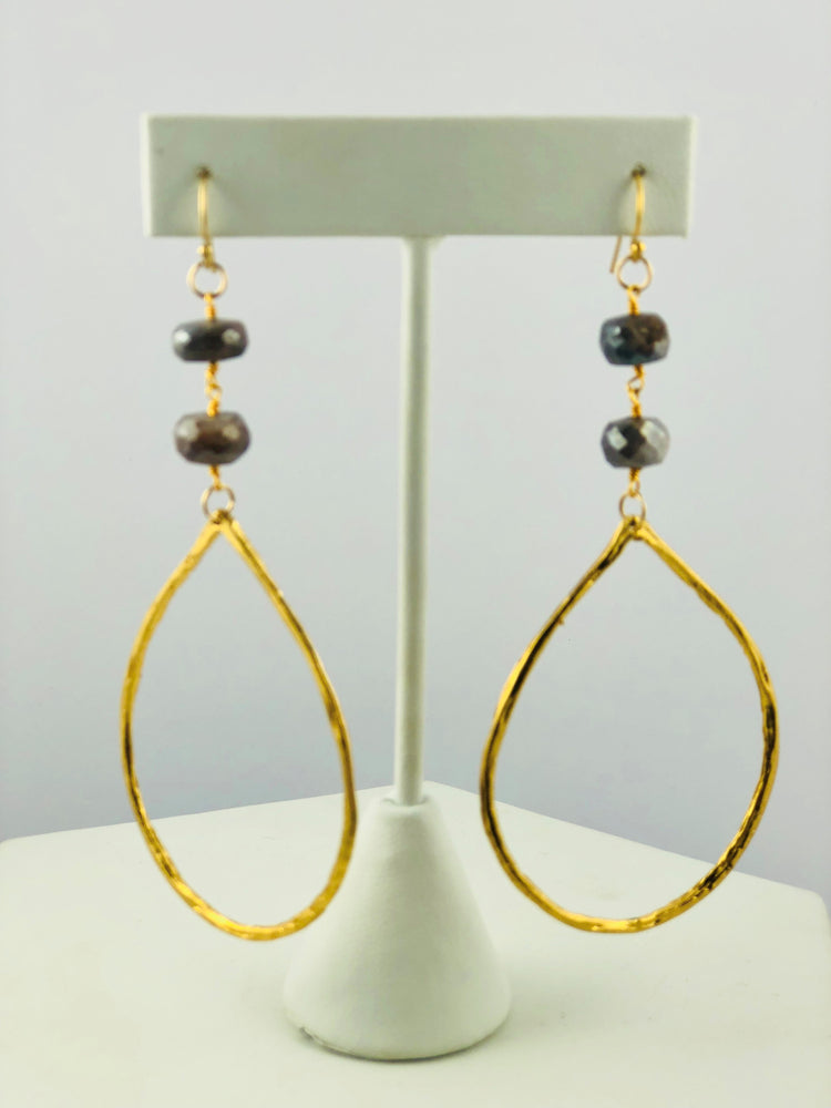 Maria Moonstone Drop Hoop Earrings