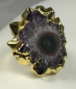 Purple Stalactite Gold Ring