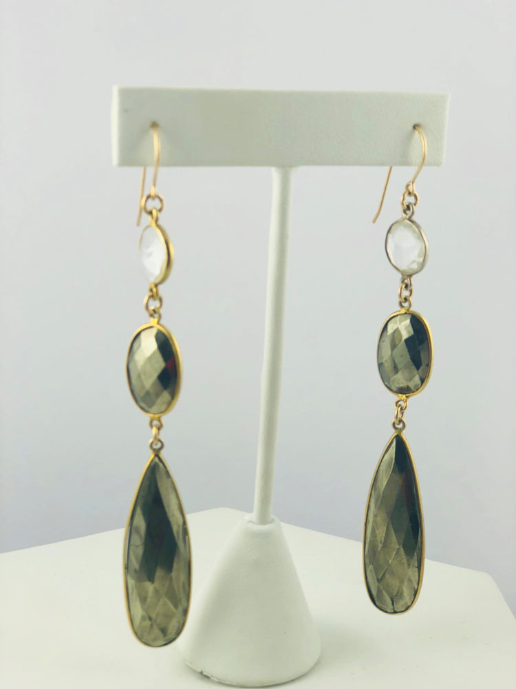 Joie Pyrite and Quartz Drop Earrings