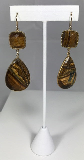 Cleo Tigers Eye Drop Earrings