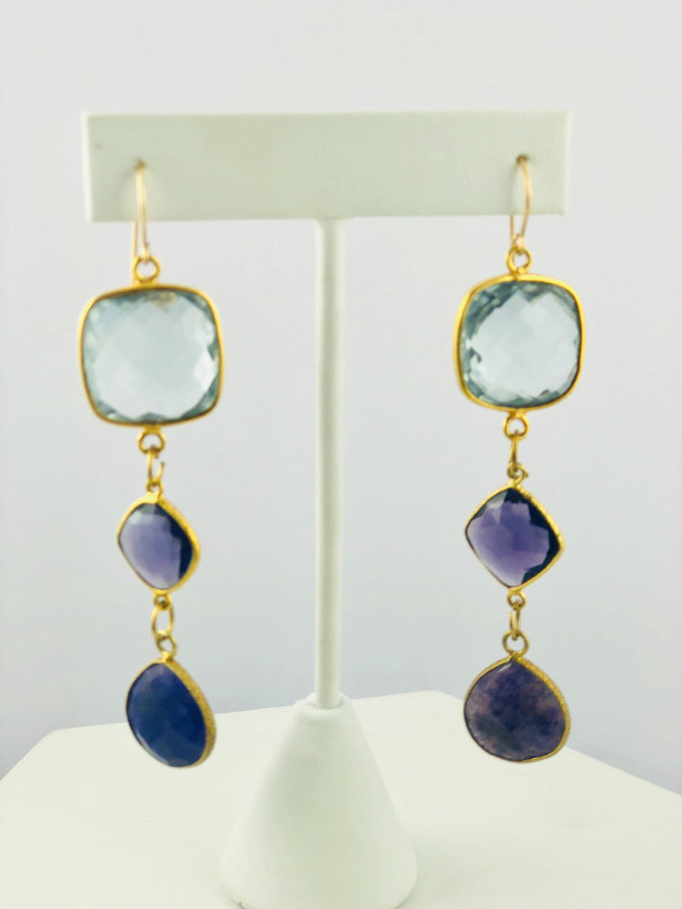 Tia Topaz Amethyst Lapis Drop Earrings