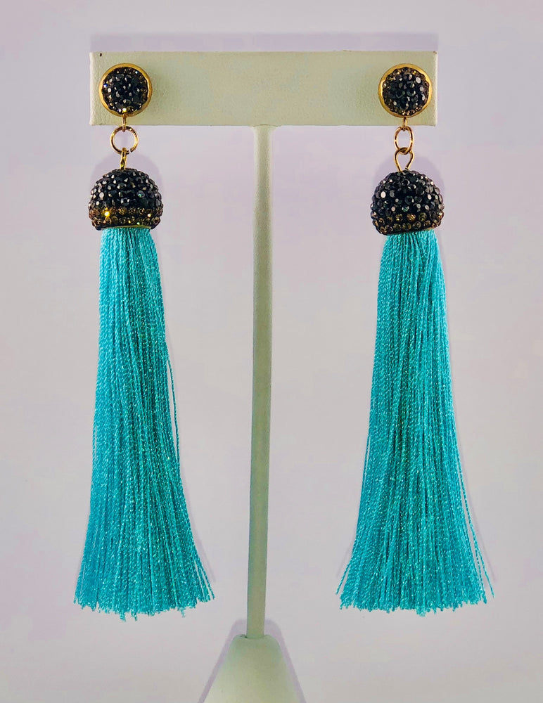 Marissa Blue Tassel Earrings